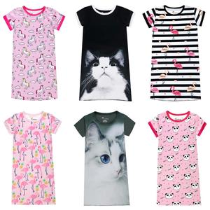 Children Summer Dresses 3D Cat Unicorn Panda Flamingo Swan Printed Dress For Girl Nightgowns Kids Nightdress Baby Sleepwear(China)