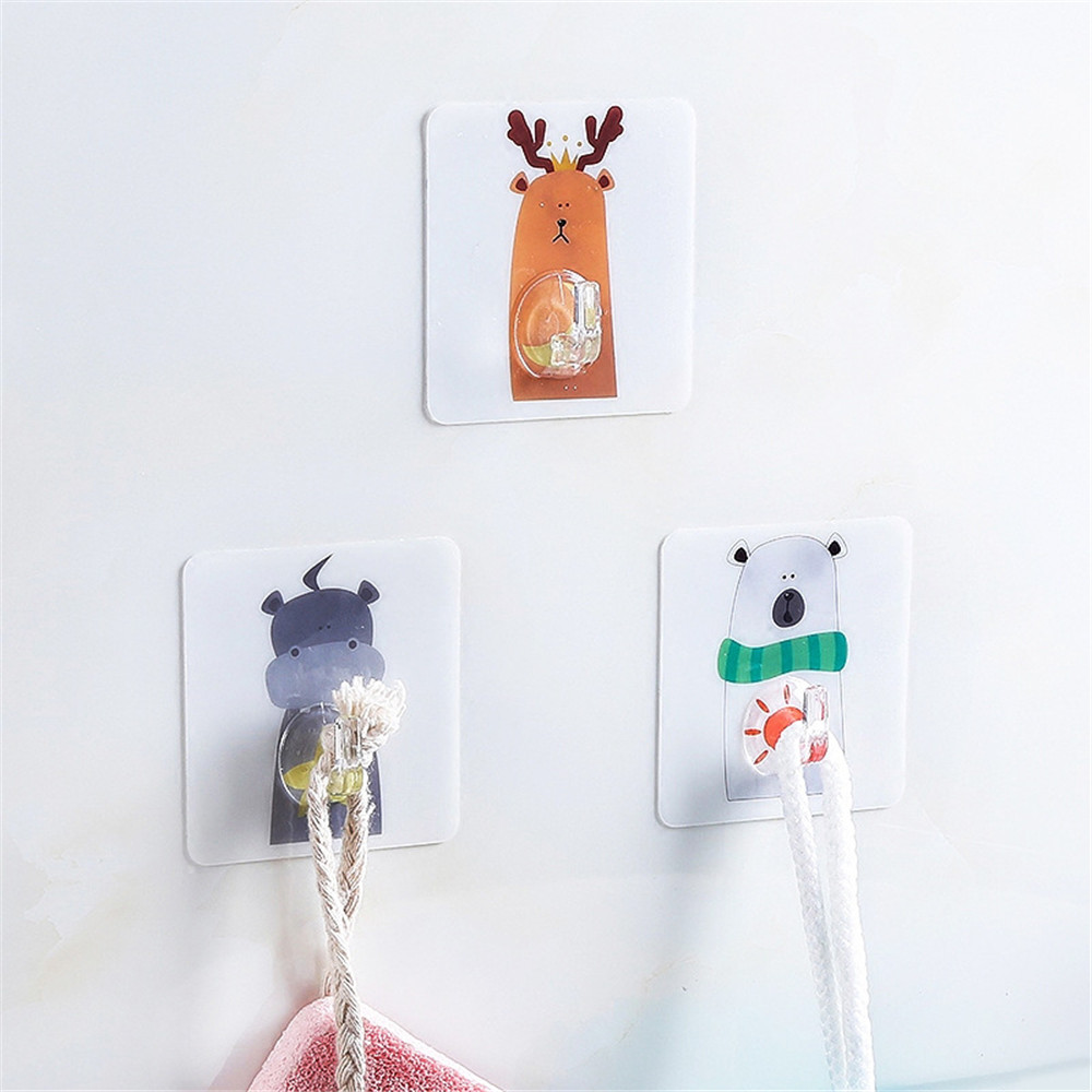 Creative Animals Wall Hooks Strong Suction Cup Sucker Hanger Kitchen Bathroom Multi Use Adhesive Hook Door Traceless Organizer