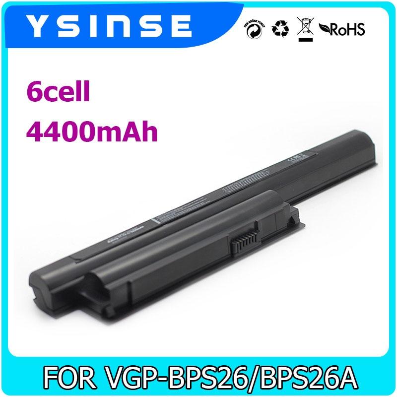YSINSE VGP-BPL26 VGP-BPS26 VGP-BPS26A Battery For Sony Vaio Bps26 BPL26 SVE141 SVE14A VPCEH16EC V CA CB EG EH EJ EL VPCCA VPCCB quality new laptop battery for sony v c ca cb series vgp bpl26 vgp bps26 vgp bps26a bps26 bpl26 4400mah