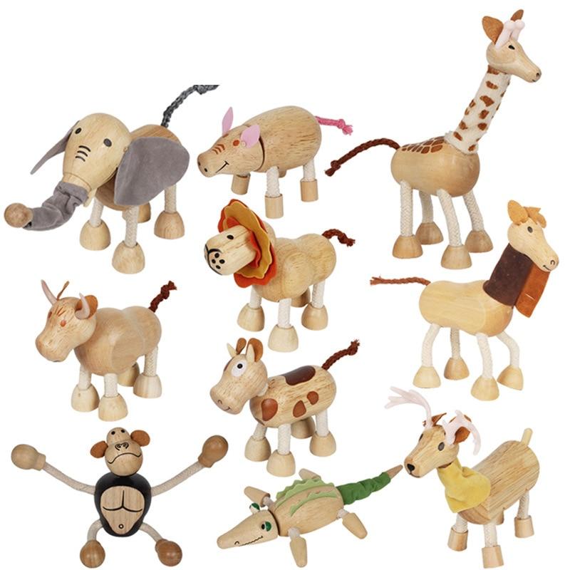 Wooden simulation wild animal toy model doll handmade ornaments children birthday giftWooden simulation wild animal toy model doll handmade ornaments children birthday gift