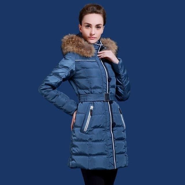 US $130.5 50% OFF|Russische und Europäischen winter frauen jacke dicken langen mantel silber fuchs pelzkragen anzupassen minus 20 grad plus größe 48