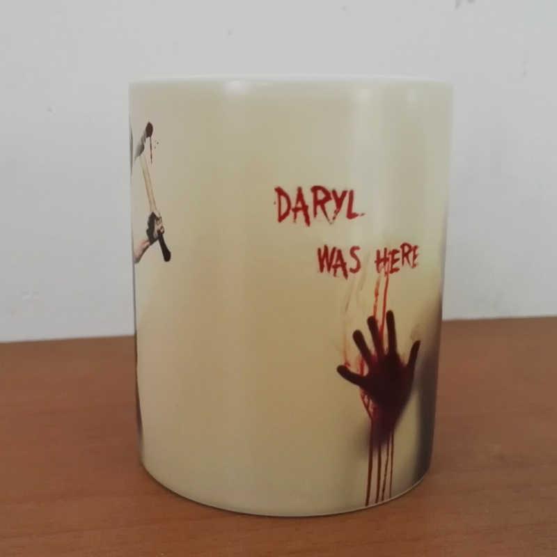 Najnowszy projekt The walking dead zombie kubki do kawy zmiana koloru ciepła kubek do herbaty magiczny kubek prezent Daryl był tutaj