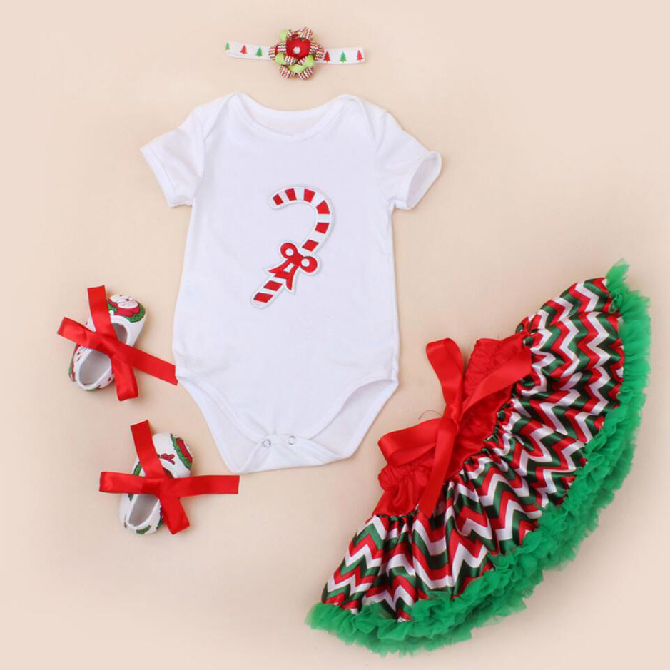 4PCs per Set Newborn Baby Girls First Second Gift Christmas Outfit Polka Dots Skirts Headband Shoes for 0-24Months baby s first christmas cd