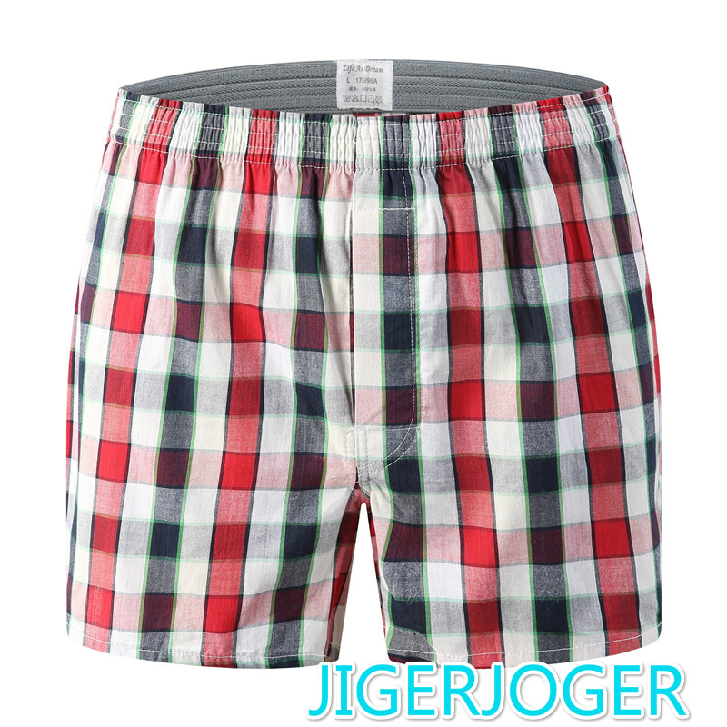 Boxers Shorts Mens Underwear Panties Cotton Casual Brands Red Plaid Loose Comfortable