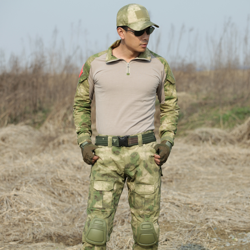 Military Uniform Tactical Clothes Special Forces Camouflage Suit Army Frog T Shirt + Pants Men CS Sets + Knee Pads Elbow Pads-in Men's Sets from Men's Clothing    3