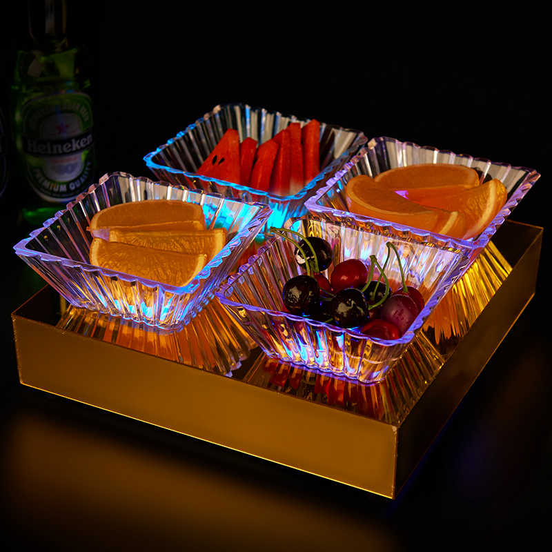 Acrylic Plates Square Tray Transparent Striped Dish Snack Bar Fruit French Fries Nut Candy Dessert Bowl Tableware Cold Plate