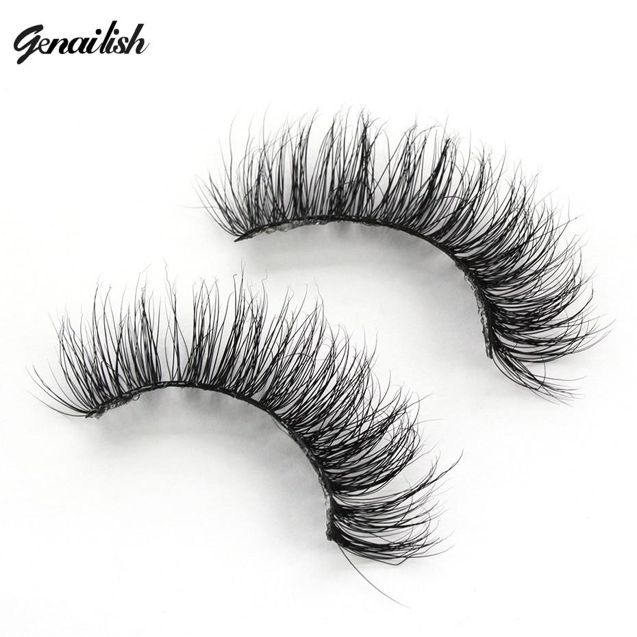 Genailish 3D Mink Eyelash Real Mink Handgjorda Crossing Lashes Full Strip Tjocka ögonfransar Fake Eyelashes Make Up Tools A15