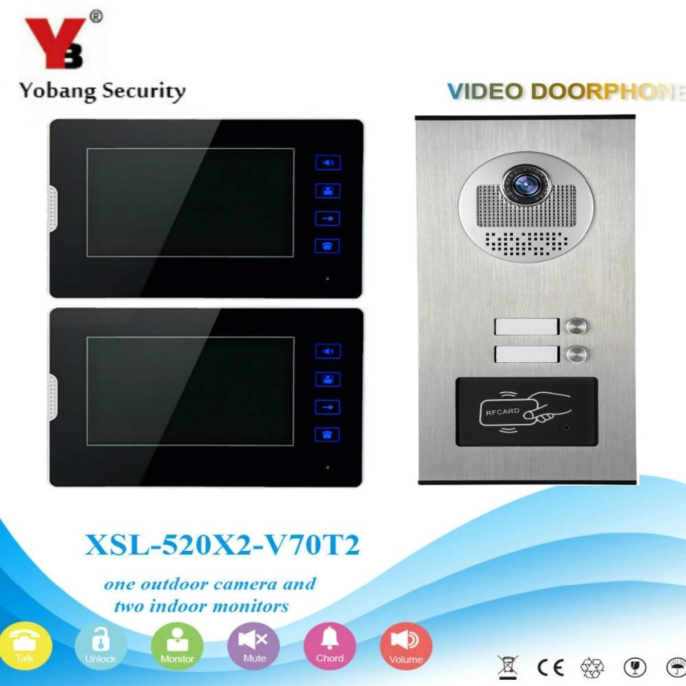 YobangSecurity Video Intercom 7Inch Video Door Phone Home Doorbell Intercom System RFID Access Door Camera For 2 Unit Apartment