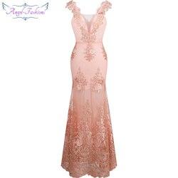 Ángel-moda Mujer cuello en V Flor de encaje bordada sirena largo vestido de noche Rosa 310