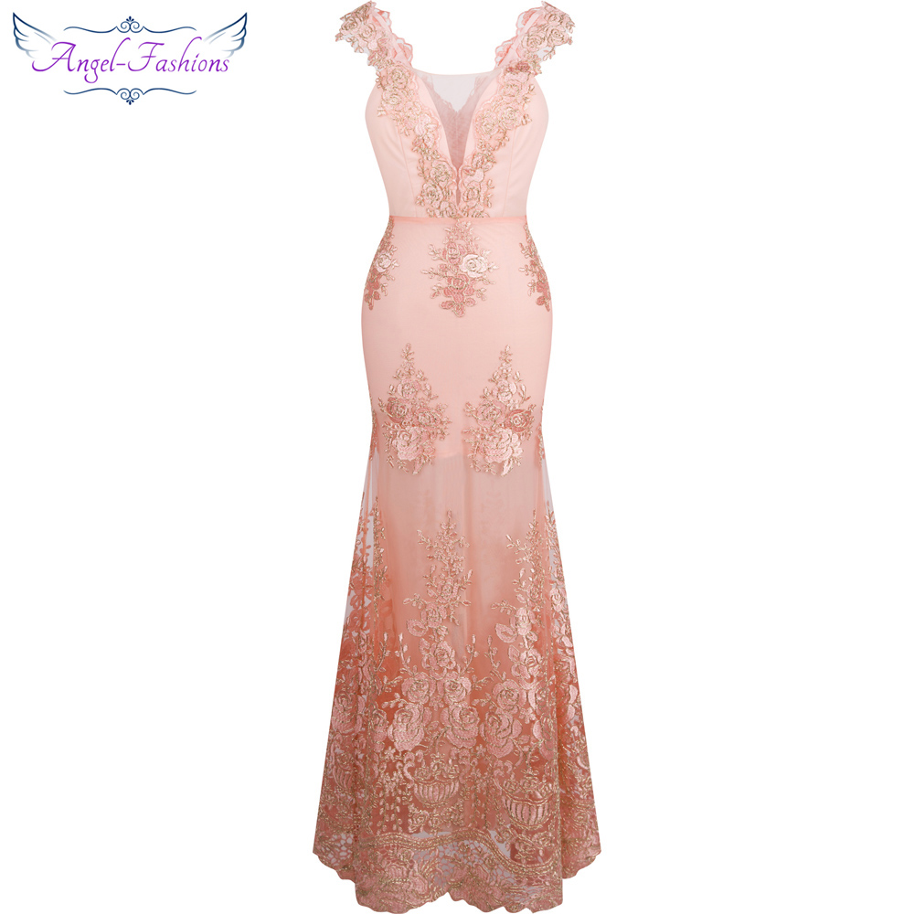 Angel-fashions Women's V Neck Embroidery Lace Flower Mermaid Long Evening Dress Pink 310