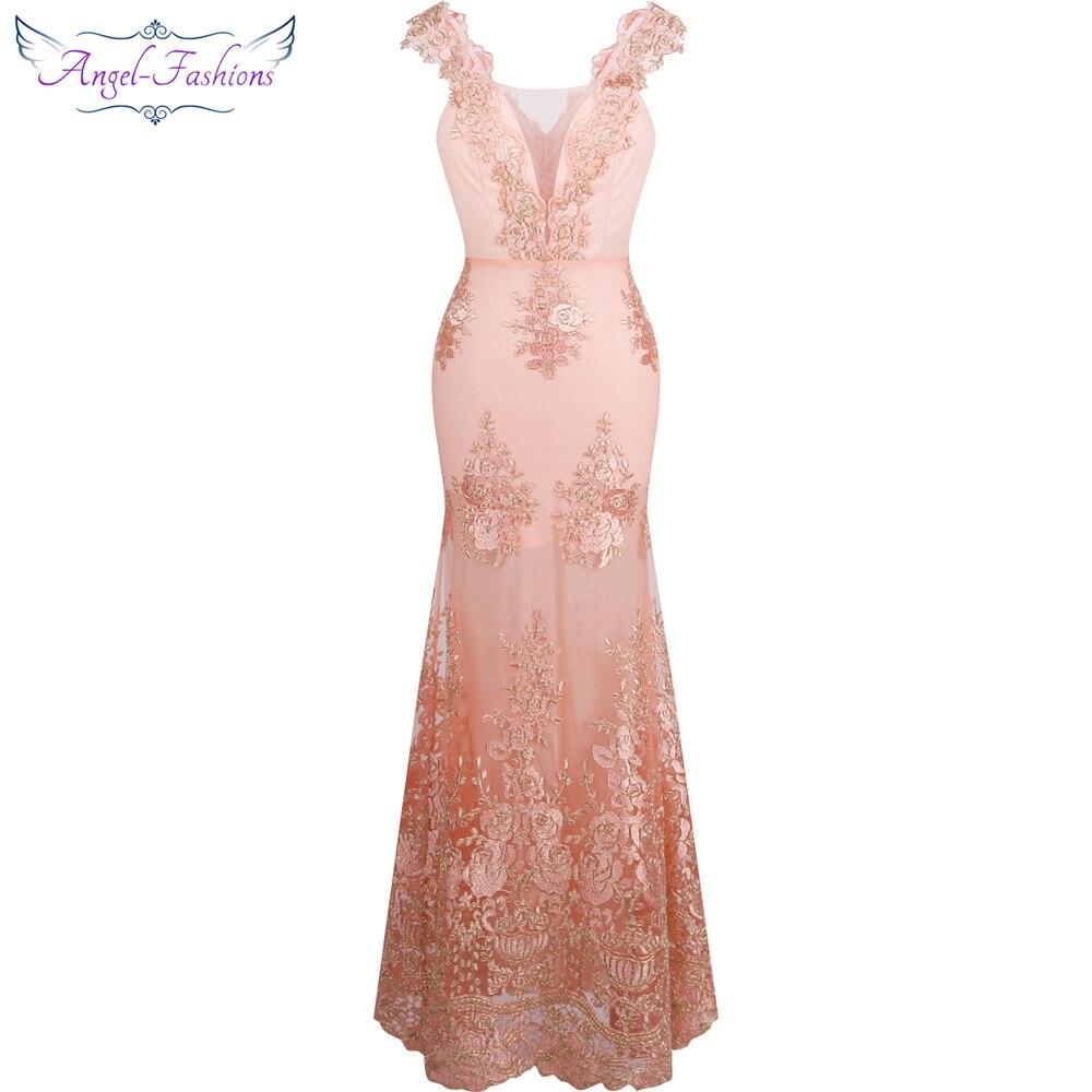 Angel-fashions das Mulheres V Pescoço Bordado Flor do Laço Da Sereia Vestido de Noite Longo Rosa 310