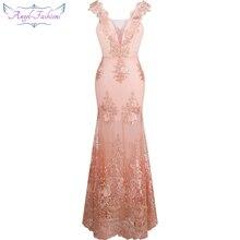 Женское длинное вечернее платье Angel fashions, розовое кружевное платье с цветочной вышивкой и v образным вырезом, модель 310