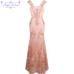 Anjo-fashions feminino v pescoço bordado laço flor sereia longo vestido de noite rosa 310