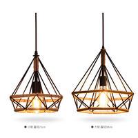 Vintage diamond hemp rope American country 3 head bar restaurant dining room attic corridor iron pendant light