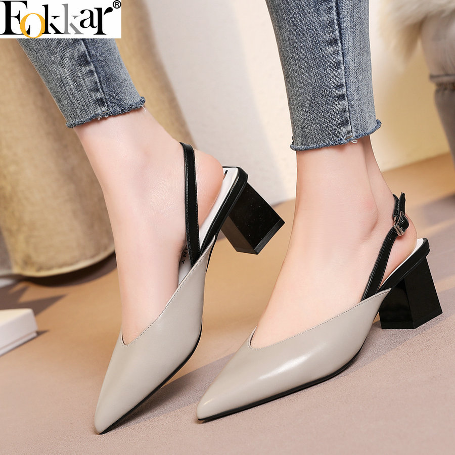 Eokkar 2019 Summer Fashion Pointed Heels Women Dress Shoes Sexy Female Party Cow Leather PU Pumps