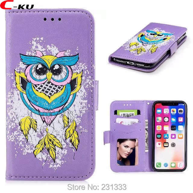 C-ku Glitter Bling OWL Wallet Leather Pouch Case For Iphone X 8 8th 7 Plus 7PLUS 6 6S SE 5 5S TPU Stand ID Card Skin Cover 1pcs