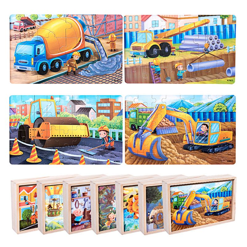 4 In 1 Wooden Jigsaw Puzzle 12 24 36 48pcs Slice Small Piece Advanced Intelligence DIY Children Baby Kids Educational Toys