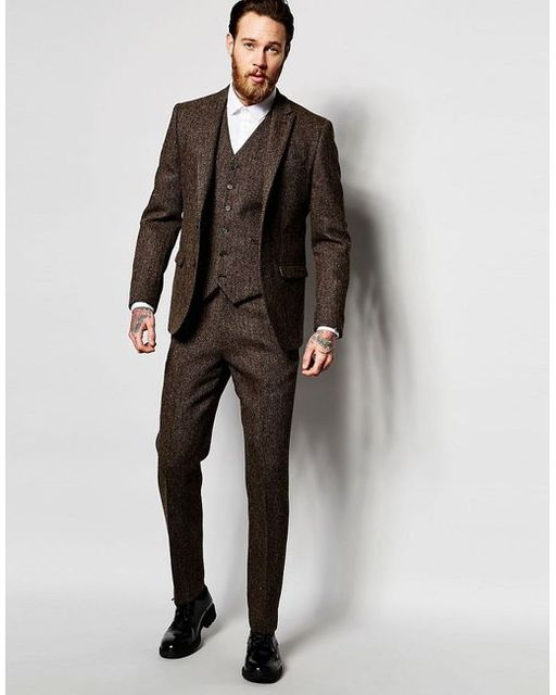 b58bf462c206 2017 Latest Coat Pant Designs Dark Brown Winter Tweed Men Suit Slim Fit  Skinny 3 Piece