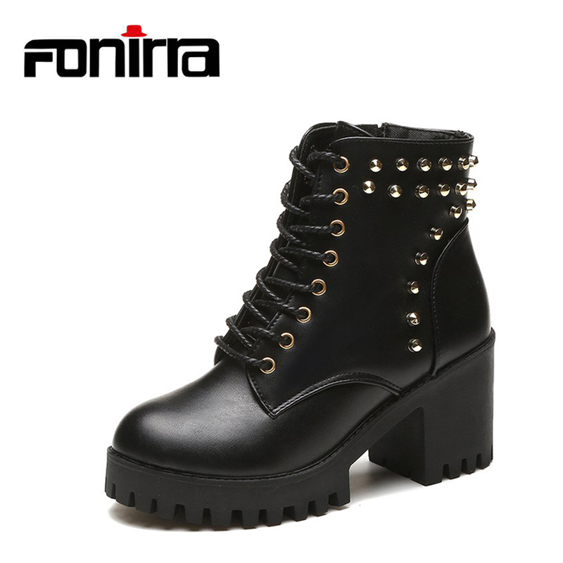 FONIRRA Thick high Heel Platform Women Ankle Boots Rivet PU Leather Short Booties Black Ladies Shoes Fashion Martin Boots 692