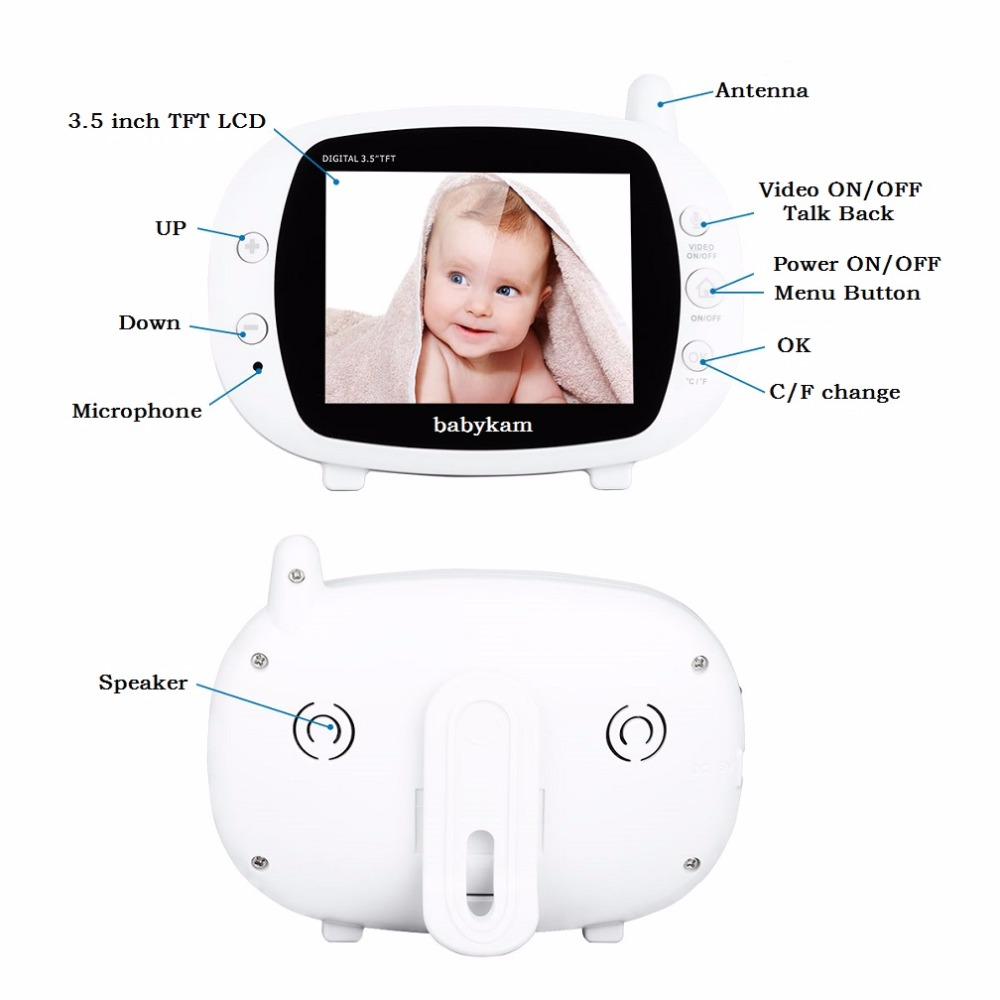 Babykam 3.5 inch audio nanny baby monitor with camera 3.5 inch IR Night vision Intercom Lullabies Temperature sensor video nanny