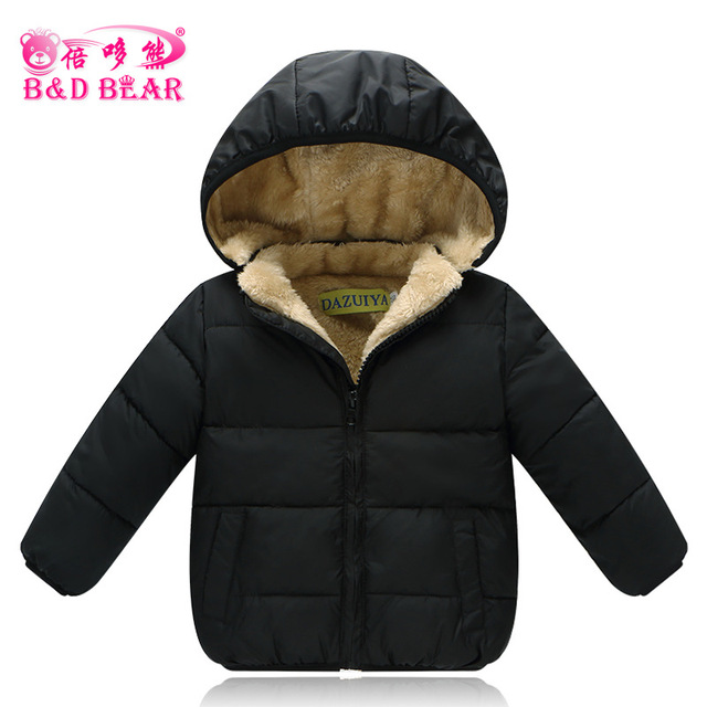 0e2f22272 Kids Winter Jackets 2017 New Style Solid Hooded Baby Girls Boys ...