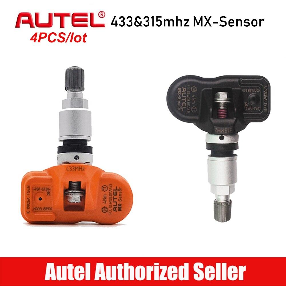 4 pièces Autel MX Capteur 315 mhz 433 mhz Capteur De Pression des Pneus TPMS Capteurs Moniteur De Pression De Pneu Programmation Clone Apprendre Capteur