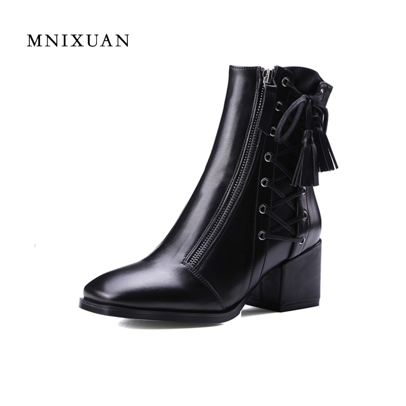 Boots women 2017 new fashion handmade winter ladies shoes lace up fringe motorcycle boots genuine leather block high heels balck high quality genuine leather women shoes spring and autumn high heels women boots hollow out lace ladies fashion boots