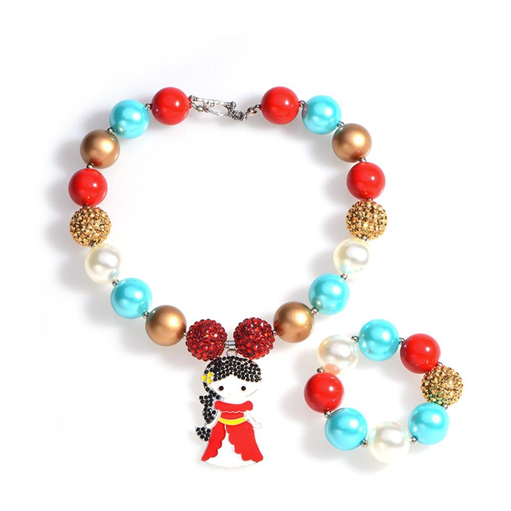 Elena of Avalor Pendant Chunky Necklace Bubble Gum Bracelets Imitation Pearl Bubblegum Jewelry Necklace Photo Prop Party Gifts