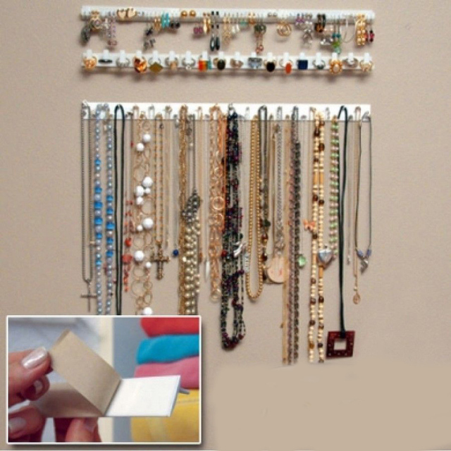 Adhesive Jewelry Earring Necklace Hanger Holder Organizer Packaging Display Rack Sticky Hooks Wall Mount
