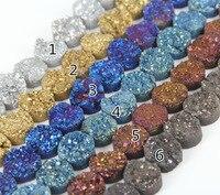 Bán buôn số lượng lớn 20 mét lớn titanium druzy geode phẳng vòng hạt mặt dây chuyền, 10 cái/str nguyên drusy quartz loose bead vòng cổ phát hiện