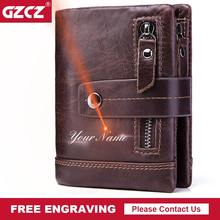 GZCZ Mens Wallet Leather Genuine Short Male Purse Zipper Poucht Clamp For Money Coin Purse Portomonee Money Bag Free Engraving(China)