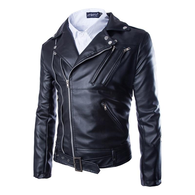 2017 New Motorcycle Leather Jackets Men Fashion Zipper PU Leather Jacket Autumn Winter Men Leather Jacket Coat Jaqueta Masculino