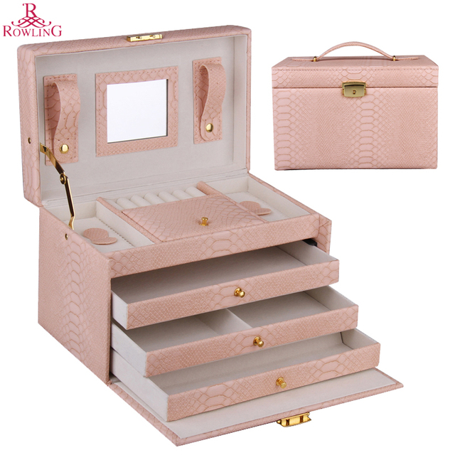Large Jewellery Storage Box Earrings Velvet Organizer Case Ring Necklaces Cabinet Mirror Lock Faux Leather Holder