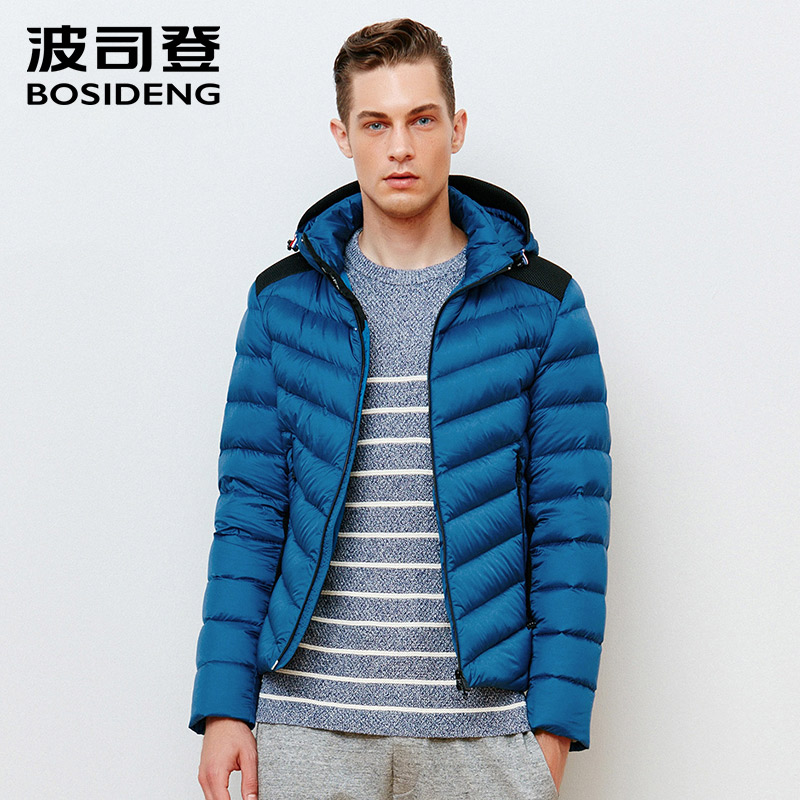 BOSIDENG mens clothing winter jacket short coat duck down coat hat detachable warm fashion outwear big size causal B1501043 ...