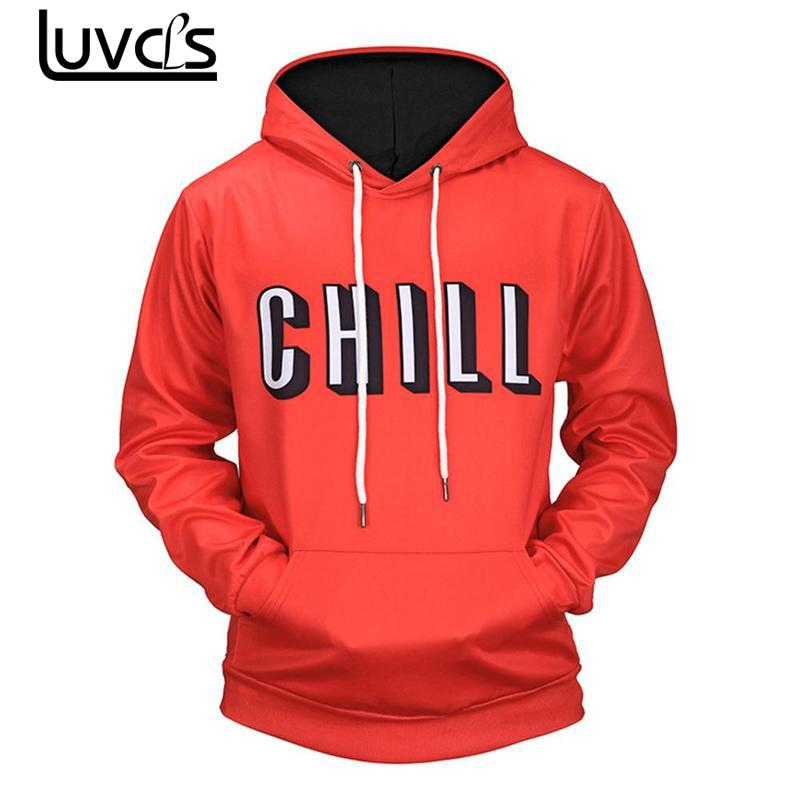 LUVCLS 2018 New Unisex Men/women 3d Hooded Tracksuit Fashion Printed Letter Pullover Men Loose Hooded Sweatshirts Plus Size