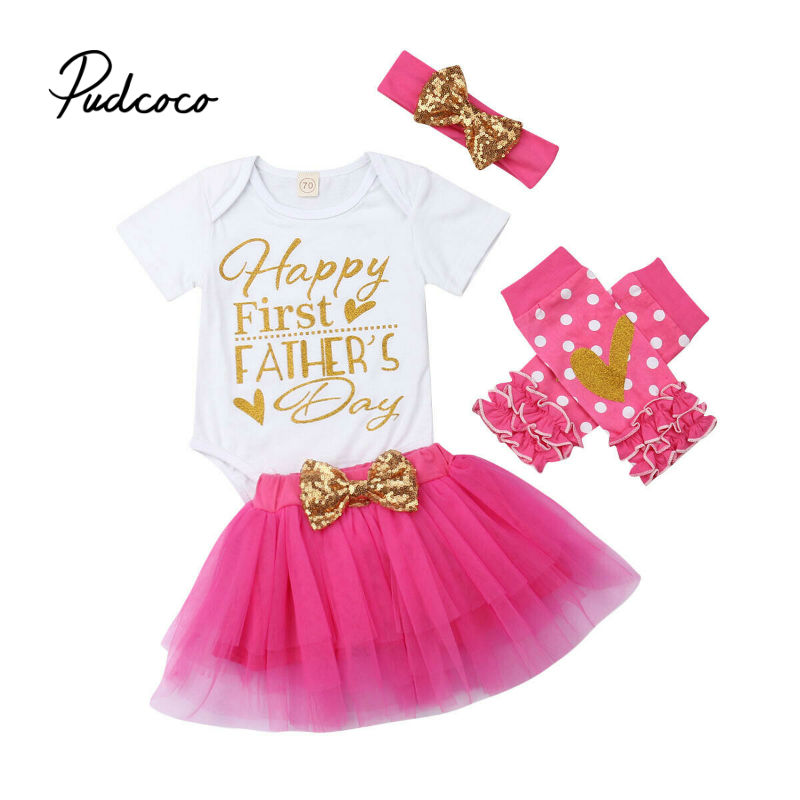 Father/'s Day Newborn Infant Baby Girls Outfits Set Letter Romper Tops+Tutu Skirt+Headband