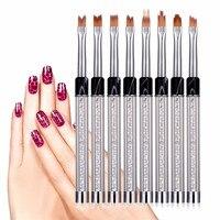 8 Pcs UV Gel Acrylic Liner Painting Nail Art Tips Design Polish Brush Pen Set Drop