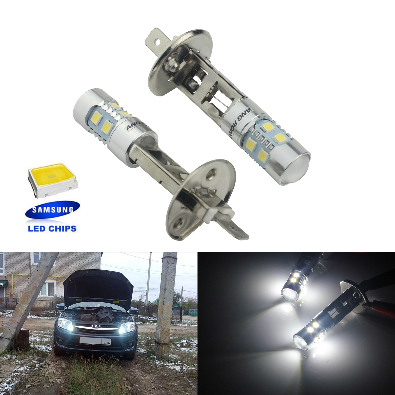 ANGRONG 2X 10W SAMSUNG LED H1 448 Bulbs Headlight High Main Beam Fog Light Lamp 6000k White