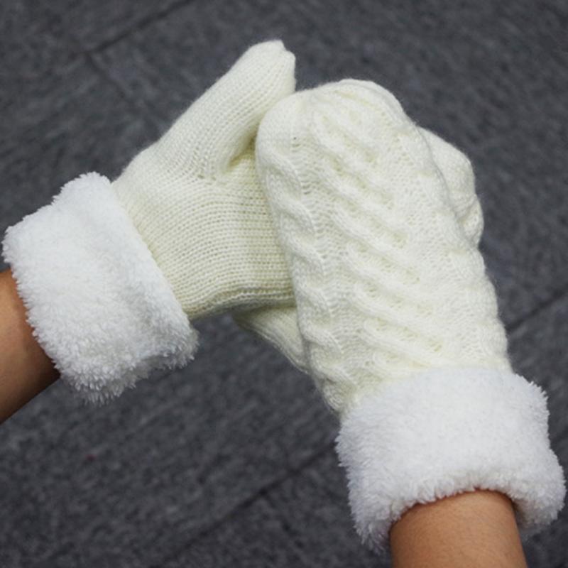 ᐂModa caliente Twist knit Guantes mitones mujer invierno mohair ...