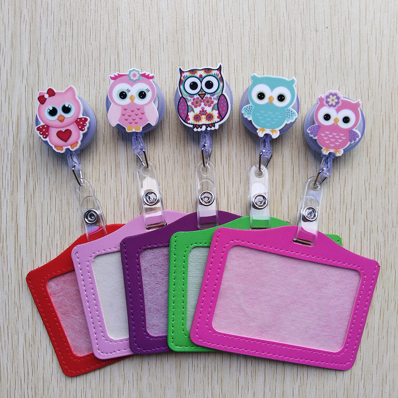 Foreign Trade Selling Cute Cartoon Retractable Badge Reel With Horizontal Style PU ID Business Card Work Card Badge Holder