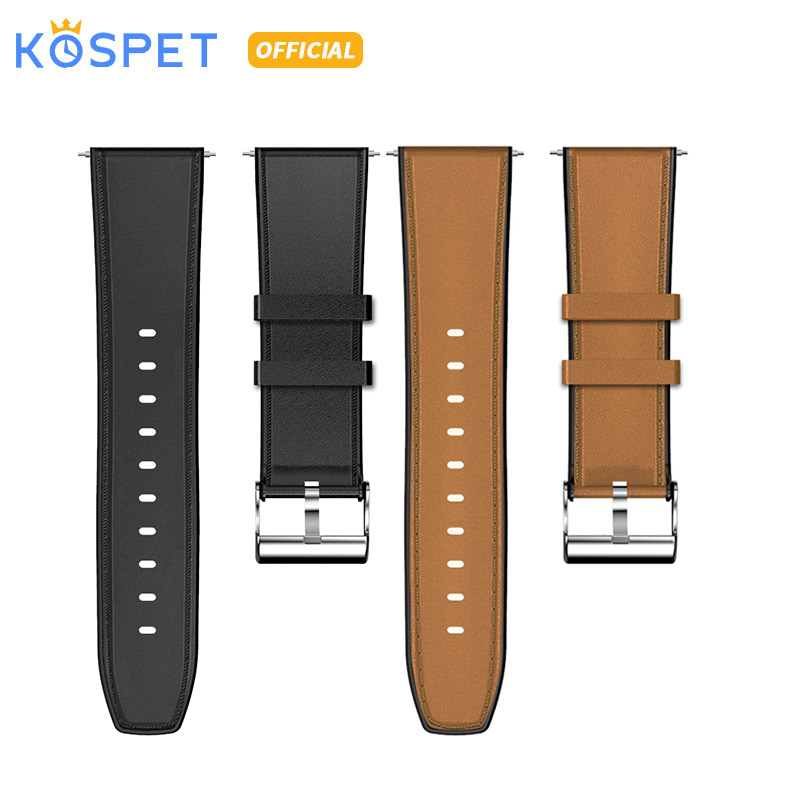 KOSPET Head Layer Cowhide Silicon Stainless Wtach Strap 24mm Smartwatch Band Strap For KOSPET Smartwatch Phone