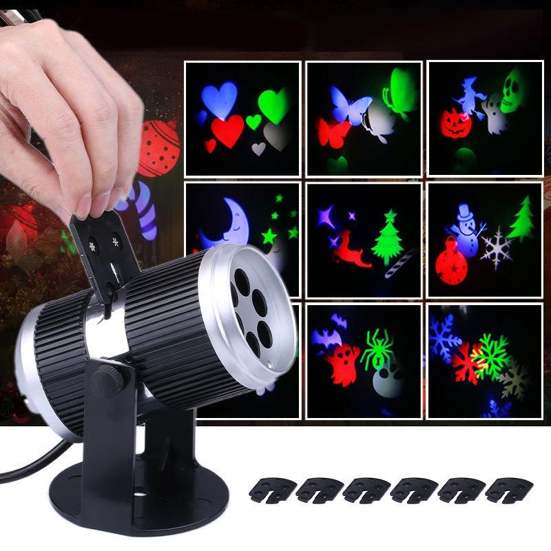 LumiParty 6 Types Holiday Decoration Stage Light Christmas Party Laser Snowflake Projector Outdoor LED Disco Light