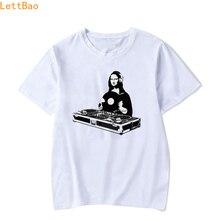 Verano 2019 Mona Lisa música de DJ cómic Rave Techno Roll Camisetas Hombre 90s moda ropa informal estilo hip hop algodón camiseta hombres