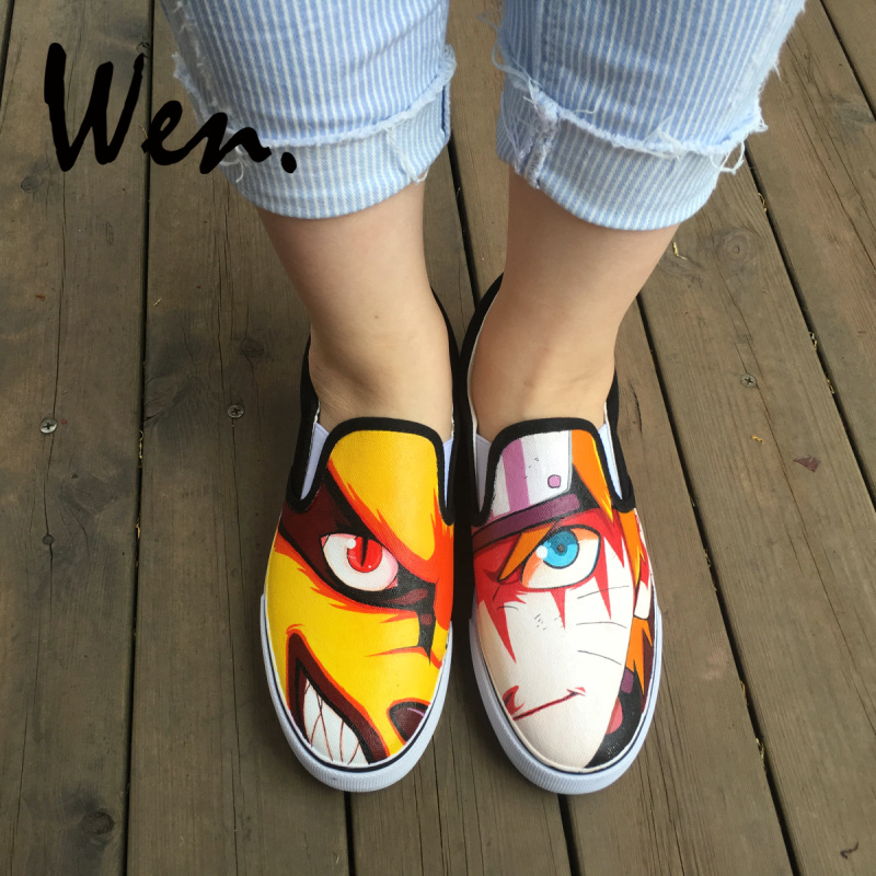 Wen Low Ankle Canvas Slip on Shoes Mens Womens Cosplay Shoes Hand Painted Uzumaki Naruto Design Walking Sneakers Plimsolls naruto sakura haruno cosplay boots shoes mp001015
