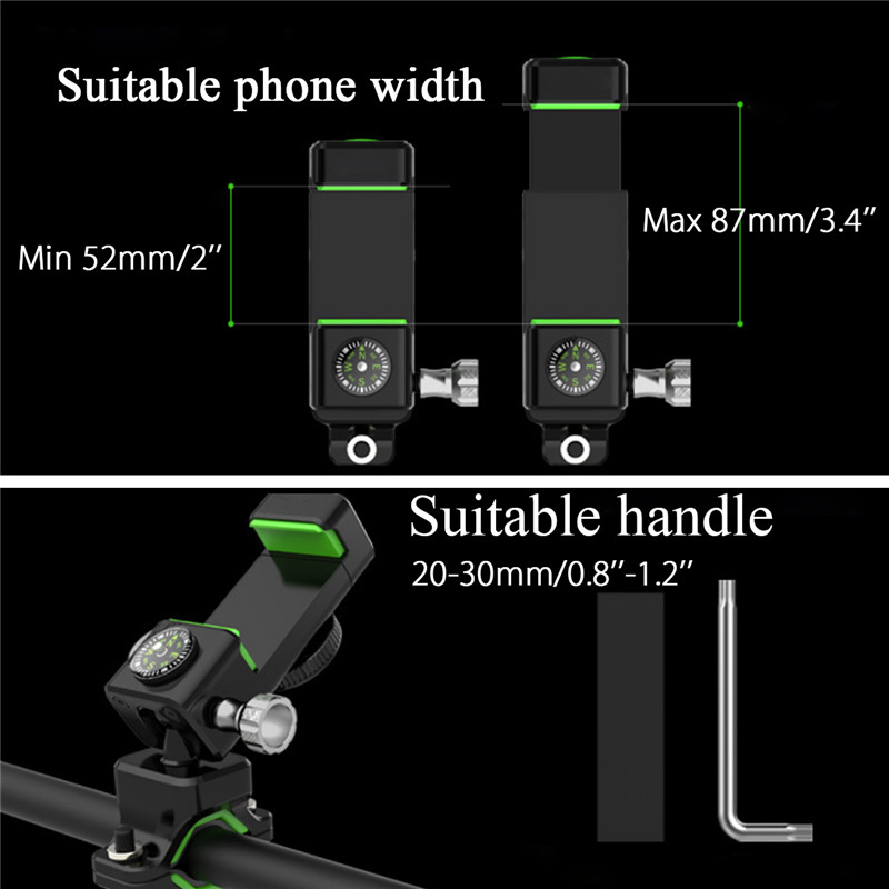 360 Rotatable Mobile Phone Holders MTB Bicycle moto eBike Phone Holder Bike GPS Motorcycle phone stents with LED Light Compass in Phone Holders Stands from Cellphones Telecommunications
