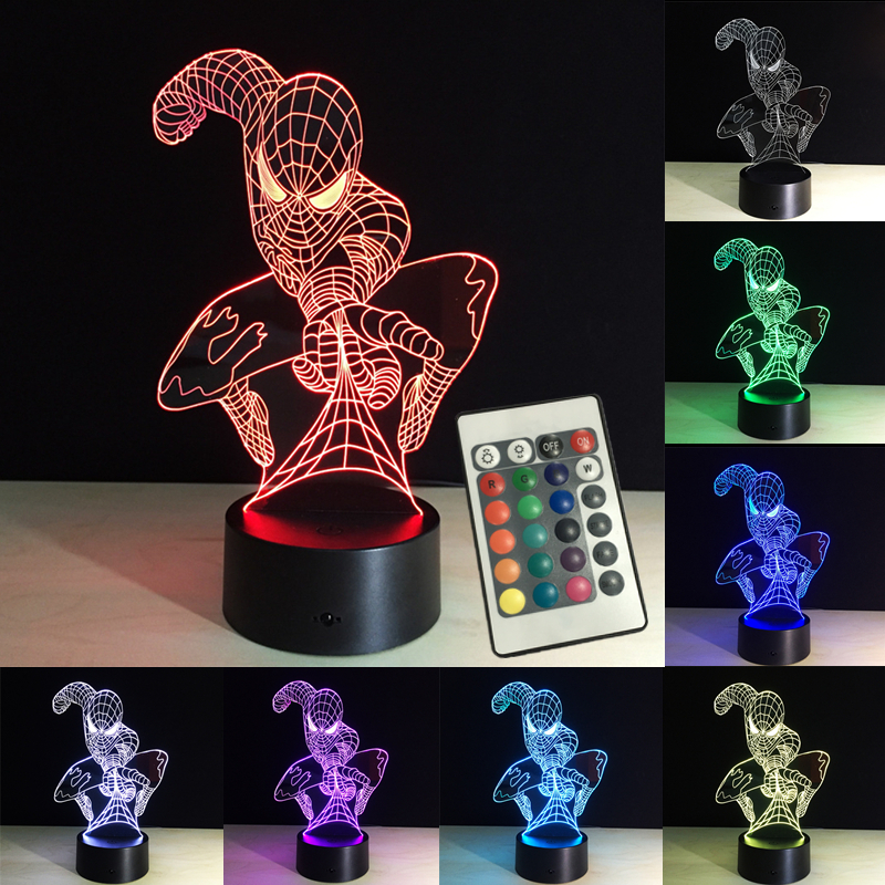 3D Lights Night Spiderman LED Table Lamp RGB Remote Control 7 Colors Changing New Year Decoration Baby Sleeping Creative Lamp image