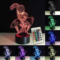 3D lumières nuit Spiderman LED lampe de Table RGB télécommande 7 couleurs changeante nouvel an décoration bébé dormir lampe créative