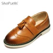 Silvapuellis 2017 детская простая броги Обувь из натуральной кожи на плоской подошве британский стиль праздничное платье Туфли-оксфорды для девочек и Обувь для мальчиков