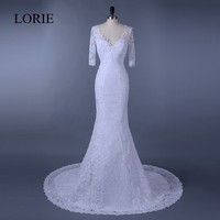 Vintage Lace Mermaid Wedding Dresses Half Sleeves 2018 LORIE Vestido de novia Bride Dress V Neck Beading Wedding Gown