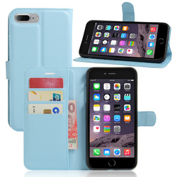Offre spéciale étui portefeuille pour Apple iPhone 7 7plus magnétique Flip PU étui en cuir avec cadre Photo porte-carte Smart Stand couverture bleu